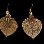 Aspen Leaf Earrings Gold Lace